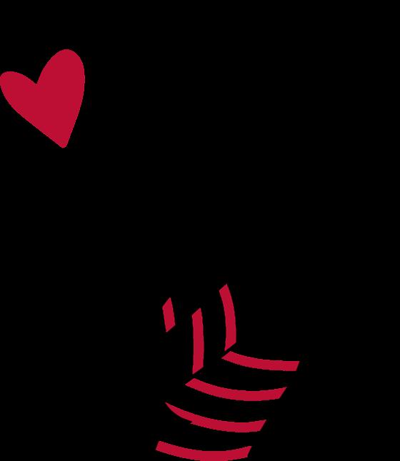 un coeur rouge et une femme tenant une boite dans ses mains