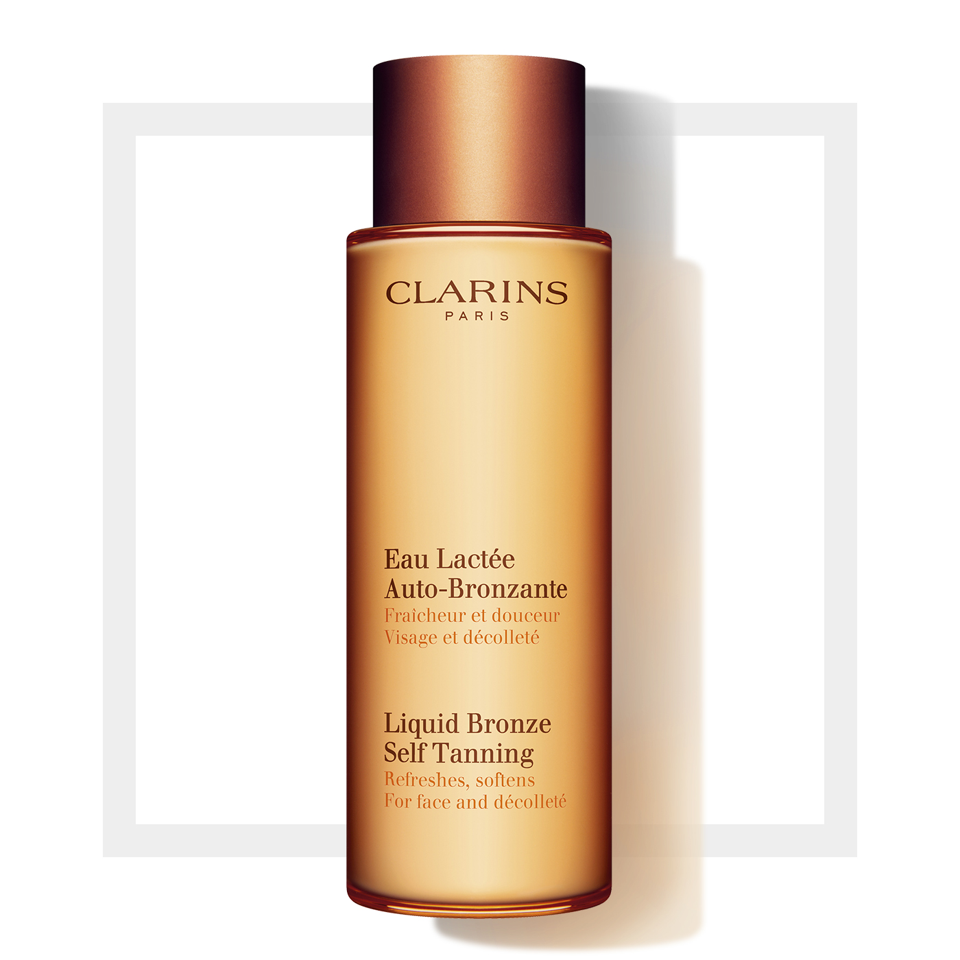 eau lact e auto bronzante effet bonne mine autobronzant clarins. Black Bedroom Furniture Sets. Home Design Ideas